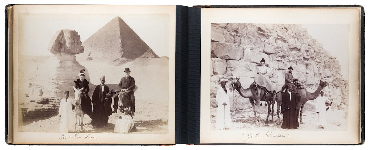 Photographs of Funchal, Gibraltar, Algiers, Genoa, Syracuse and Cairo circa 1899 are displayed in a leather-bound album of 50 albumen silver prints.