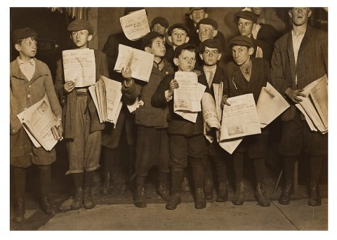 Newsboys (circa 1909), a photo on gelatin silver print by Lewis Hine.